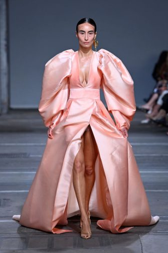 SYDNEY, AUSTRALIA - JUNE 02: A model walks the runway during the Mariam Seddiq show during Afterpay Australian Fashion Week 2021 Resort '22 Collections at Carriageworks on June 02, 2021 in Sydney, Australia. (Photo by Stefan Gosatti/Getty Images)