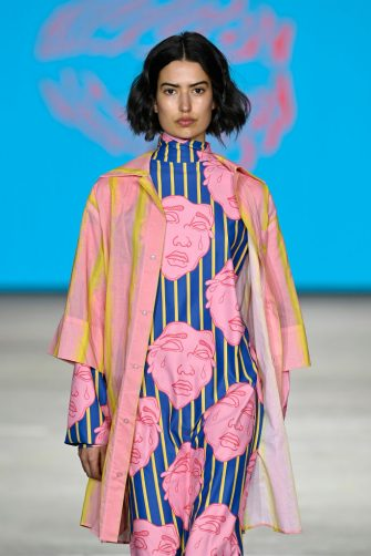SYDNEY, AUSTRALIA - JUNE 01: A model walks the runway in a design by Outfaced during the Next Gen show during Afterpay Australian Fashion Week 2021 Resort '22 Collections at Carriageworks on June 01, 2021 in Sydney, Australia. (Photo by Stefan Gosatti/Getty Images)