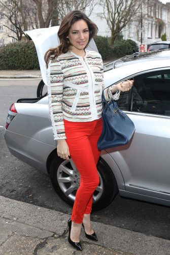 LONDON, ENGLAND - MARCH 20:  Kelly Brook seen arriving at Riverside Studios to film Celebrity Juice on March 20, 2013 in London, England.  (Photo by Neil P. Mockford/FilmMagic)