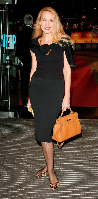 """LONDON - SEPTEMBER 15: Model Jerry Hall arrives at the World Premiere of """"Goal"""" at the Odeon Leicester Square on September 15, 2005 in London, England. (Photo by Dave Hogan/Getty Images)"""