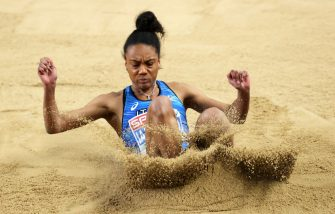 TORUN, POLAND - MARCH 06: Larissa Iapichino of Italy competes in the Women's Long Jump final during the second session on Day 2 of European Athletics Indoor Championships at Arena Torun on March 06, 2021 in Torun, Poland. Sporting stadiums around Poland remain under strict restrictions due to the Coronavirus Pandemic as Government social distancing laws prohibit fans inside venues resulting in games being played behind closed doors.on March 06, 2021 in Torun, Poland. (Photo by Alexander Hassenstein/Getty Images for European Athletics)