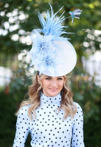 ASCOT, ENGLAND - JUNE 16:  A racegoer attends Royal Ascot 2021 at Ascot Racecourse on June 16, 2021 in Ascot, England. (Photo by Chris Jackson/Getty Images)