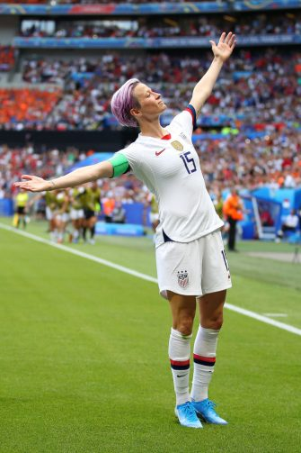 LYON, FRANCE - JULY 07: Megan Rapinoe of the USA celebrates scoring the first goal from the penalty spot during the 2019 FIFA Women's World Cup France Final match between The United State of America and The Netherlands at Stade de Lyon on July 07, 2019 in Lyon, France. (Photo by Richard Heathcote/Getty Images)