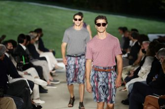 MILAN, ITALY - JUNE 21: Models walk the runway during the Giorgio Armani Fashion Show at the Milan Men's Fashion Week Spring/Summer 2021/22 on June 21, 2021 in Milan, Italy. (Photo by Vittorio Zunino Celotto/Getty Images)