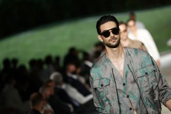 MILAN, ITALY - JUNE 21: A model walks the runway during the Giorgio Armani Fashion Show at the Milan Men's Fashion Week Spring/Summer 2021/22 on June 21, 2021 in Milan, Italy. (Photo by Vittorio Zunino Celotto/Getty Images)