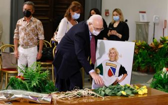 Conductor Pippo Baudo at the funeral home set up for Raffaella Carrà in the Protomoteca hall of Rome's Capitol, 07 July 2021. The worldwide famous artist died on 05 July, at 78, due to an illness. ANSA / Massimo Percossi