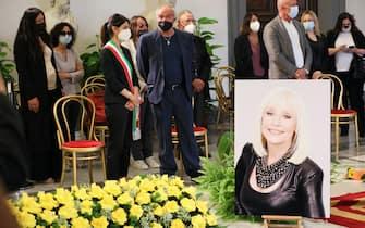 ROME, ITALY - JULY 07: Sergio Iapino and Mayor of Rome Virginia Raggi attend during the Raffaella Carra funeral procession at Protomoteca del Campidoglio on July 07, 2021 in Rome, Italy. (Photo by Ernesto Ruscio/Getty Images)