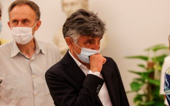 Vincenzo Salemme pay his respect as Raffaella Carra lies in state in the Protomoteca hall of Rome's Capitol, Italy, 08 July 2021. ANSA/GIUSEPPE LAMI