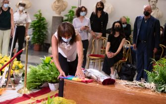 Vladimir Luxuria at the funeral home set up for Raffaella Carrà in the Protomoteca hall of Rome's Capitol, 07 July 2021. The worldwide famous artist died on 05 July, at 78, due to an illness. ANSA / Massimo Percossi
