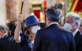 Milly Carlucci during Raffaella Carra' funeral ceremony taking place in the church Santa Maria in Ara Coeli, in Rome, Italy, 09 July 202. ANSA/GIUSEPPE LAMI