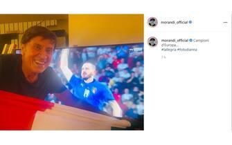 Esultanza Gianni Morandi vittoria Euro 2020