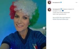 Esultanza Laura Pausini vittoria Euro 2020