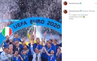 Esultanza Alessia Marcuzzi vittoria Euro 2020