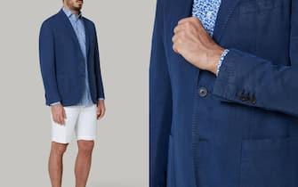 Blazer blu Brescia in lino Tencel