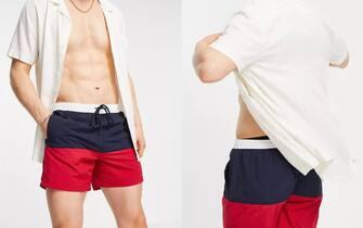 Brave Soul - Pantaloncini da bagno blu navy e rossi