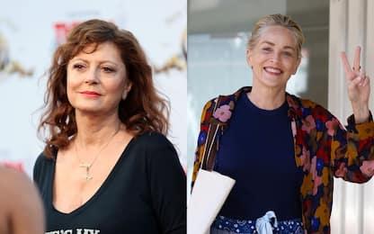 Sharon Stone e Susan Sarandon esultano per la vittoria dell'Italia