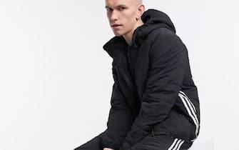 Adidas Originals - Piumino nero con tre strisce