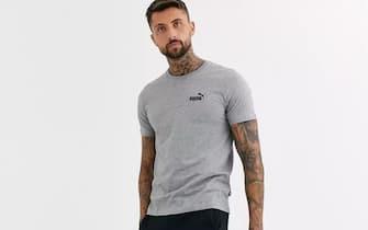 Puma Essentials - T-shirt con logo piccolo grigia