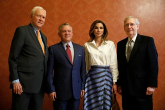 WASHINGTON, DC - JUNE 26: (L-R) U.S. Sen. Orrin Hatch (R-UT), King Abdullah II of Jordan, Queen Rania of Jordan and Senate Majority Leader Mitch McConnell pose for a photo at the U.S. Capitol on June 26, 2018 in Washington, DC. King Abdullah met with President Trump yesterday at the White House. (Photo by Aaron P. Bernstein/Getty Images)