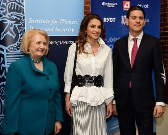 WASHINGTON, DC â   APRIL 14:  Melanne Verveer, former U.S. Ambassador for Global Women's Issues, Her Majesty Queen Rania of Jordan, and David Miliband, IRC President and CEO at Georgetown University on April 14, 2016 in Washington, DC.  (Photo by Shannon Finney/Getty Images)