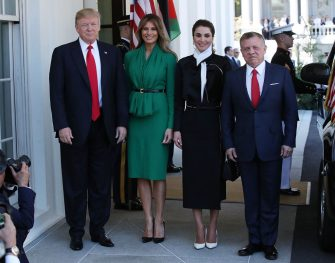 WASHINGTON, DC - APRIL 05: U.S. President Donald Trump and his wife first lady Melania Trump welcomes King Abdullah II of Jordan and his wife Queen Rania of Jordan at the West Wing of the White House, on April 5, 2017 in Washington, DC. Later today President Trump and King Abdullah II will speak to the media during a joint news conference in the Rose Garden. (Photo by Mark Wilson/Getty Images)