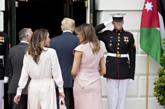 King Abdullah II of Jordan, from left, Rania Al-Abdullah, Queen of Jordan, U.S. President Donald Trump and First Lady Melania Trump walk into the South Portico of the White House in Washington, D.C., U.S., on Monday, June 25, 2018. President Trump and King Abdullah are expected to discuss Iran, Syria, Israel and the Palestinians. Photographer: Andrew Harrer/Bloomberg via Getty Images