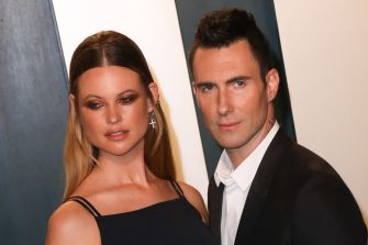 BEVERLY HILLS, CALIFORNIA - FEBRUARY 09: Behati Prinsloo and Adam Levine attend the 2020 Vanity Fair Oscar Party at Wallis Annenberg Center for the Performing Arts on February 09, 2020 in Beverly Hills, California. (Photo by Toni Anne Barson/WireImage)