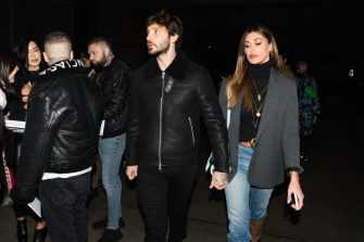 Stefano De Martino (L) and Belen Rodriguez (R) arrivals at Marcelo Burlon County of Milan fashion show during the Milan Fashion Week 2020 in Milan, Italy, on January 11 2020 (Photo by Mairo Cinquetti/NurPhoto via Getty Images)