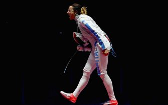 RIO DE JANEIRO, BRAZIL - AUGUST 10:  Elisa di Francisca of Italy celebrates victory over Ines Boubakri of Tunisia during the women's individual foil semifinal on Day 5 of the Rio 2016 Olympic Games at Carioca Arena 3 on August 10, 2016 in Rio de Janeiro, Brazil.  (Photo by Dean Mouhtaropoulos/Getty Images)