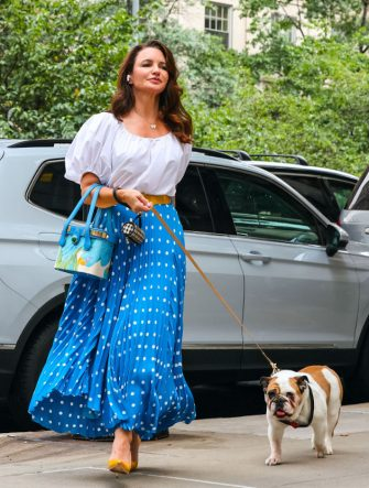 NEW YORK, NY - JULY 12: Kristin Davis is seen at the film set of 'And Just Like That...' TV Series on July 12, 2021 in New York City.  (Photo by Jose Perez/Bauer-Griffin/GC Images)