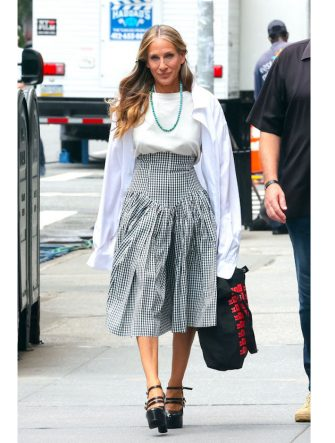 NEW YORK, NY - JULY 12: Sarah Jessica Parker is seen on the film set of 'And Just Like That...' TV Series on July 12, 2021 in New York City.  (Photo by Jose Perez/Bauer-Griffin/GC Images)