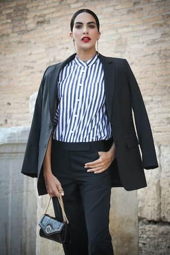 """ROME, ITALY - JUNE 07: Rocío Muñoz Morales attends the """"Premio Margutta - La Via delle Arti"""" at the Parco Archeologico del Colosseo on June 07, 2021 in Rome, Italy. (Photo by Franco Origlia/Getty Images)"""