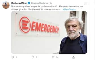 Barbara d'Urso e il ricordo per Gino Strada su Twitter