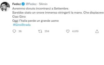 Il messaggio di Fedez su Twitter per la morte di Gino Strada