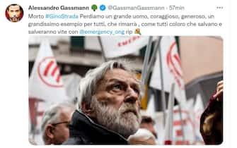 Alessandro Gassman ricorda Gino Strada sul suo profilo Twitter
