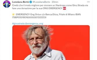 Loredana Bertè ricorda Gino Strada sul suo profilo Twitter