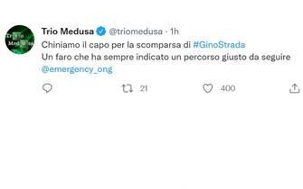 Il Trio  Medusa su Twitter per Gino Strada