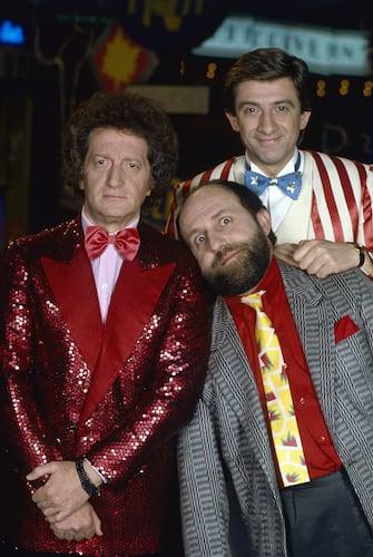 Italian comedians Enrico Beruschi, Ezio Greggio and Gianfranco D'Angelo posing in the studios of the TV show Drive In. 1983  (Photo by Rino Petrosino\Mondadori via Getty Images)