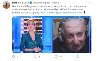 Barbara d'Urso e il ricordo per Gianfranco D'Angelo su Twitter