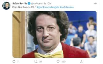 Salvo Sottile twitta per la morte di Gianfranco D'Angelo