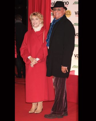 """ROME - NOVEMBER 16: Actress Mariangela Melato and Renzo Arbore attend """"Valentino: The Last Emperor"""" premiere at Embassy Cinema on November 16, 2009 in Rome, Italy.  (Photo by Elisabetta Villa/Getty Images)"""