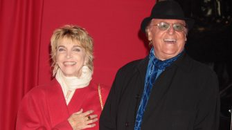 """ROME - NOVEMBER 16:  Actress Mariangela Melato and Renzo Arbore attend """"Valentino: The Last Emperor"""" premiere at Embassy Cinema on November 16, 2009 in Rome, Italy.  (Photo by Elisabetta A. Villa/WireImage)"""