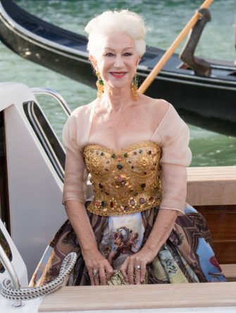 VENICE, ITALY - AUGUST 29: Helen Mirren is seen during the Dolce&Gabbana Alta Moda show on August 29, 2021 in Venice, Italy. (Photo by Jacopo Raule/Getty Images)