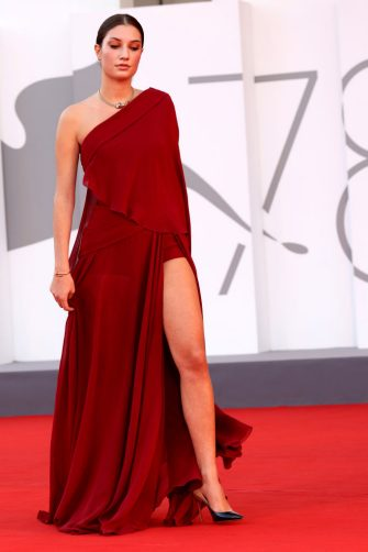 """VENICE, ITALY - SEPTEMBER 08: Alba-Amira Ramadani  attends the red carpet of the movie """"Freaks Out"""" during the 78th Venice International Film Festival on September 08, 2021 in Venice, Italy. (Photo by Franco Origlia/Getty Images)"""