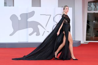 """VENICE, ITALY - SEPTEMBER 09: Julia Charlotte De Rossi attends the red carpet of the movie """"America Latina"""" during the 78th Venice International Film Festival on September 09, 2021 in Venice, Italy. (Photo by Daniele Venturelli/WireImage)"""