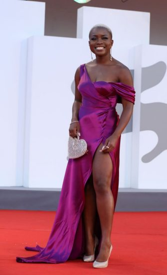 """VENICE, ITALY - SEPTEMBER 09: Tia Taylor attends the red carpet of the movie """"America Latina"""" during the 78th Venice International Film Festival on September 09, 2021 in Venice, Italy. (Photo by Elisabetta A. Villa/Getty Images)"""