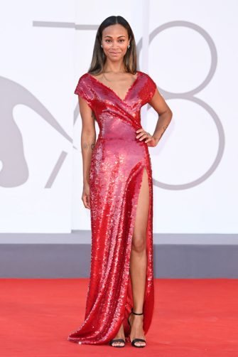 """VENICE, ITALY - SEPTEMBER 02: Zoe Saldana attends the red carpet of the movie """"The Hand Of God"""" during the 78th Venice International Film Festival on September 02, 2021 in Venice, Italy. (Photo by Daniele Venturelli/WireImage)"""