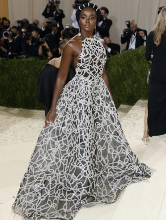 epa09466897 Kiki Layne poses on the red carpet for the 2021 Met Gala, the annual benefit for the Metropolitan Museum of Art's Costume Institute, in New York, New York, USA, 13 September 2021. The event coincides with the Met Costume Institute's first two-part exhibition, 'In America: A Lexicon of Fashion' which opens 18 September 2021, to be followed by 'In America: An Anthology of Fashion' which opens 05 May 2022 and both conclude 05 September 2022.  EPA/JUSTIN LANE