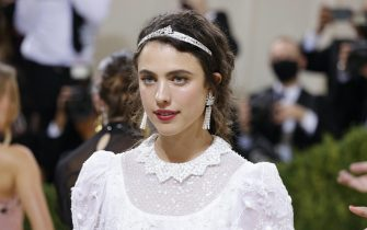epa09466880 Margaret Qualley poses on the red carpet for the 2021 Met Gala, the annual benefit for the Metropolitan Museum of Art's Costume Institute, in New York, New York, USA, 13 September 2021. The event coincides with the Met Costume Institute's first two-part exhibition, 'In America: A Lexicon of Fashion' which opens 18 September 2021, to be followed by 'In America: An Anthology of Fashion' which opens 05 May 2022 and both conclude 05 September 2022.  EPA/JUSTIN LANE
