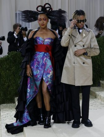 epa09466571 Cordae (R) and Naomi Osaka pose on the red carpet for the 2021 Met Gala, the annual benefit for the Metropolitan Museum of Art's Costume Institute, in New York, New York, USA, 13 September 2021. The event coincides with the Met Costume Institute's first two-part exhibition, 'In America: A Lexicon of Fashion' which opens 18 September 2021, to be followed by 'In America: An Anthology of Fashion' which opens 05 May 2022 and both conclude 05 September 2022.  EPA/JUSTIN LANE